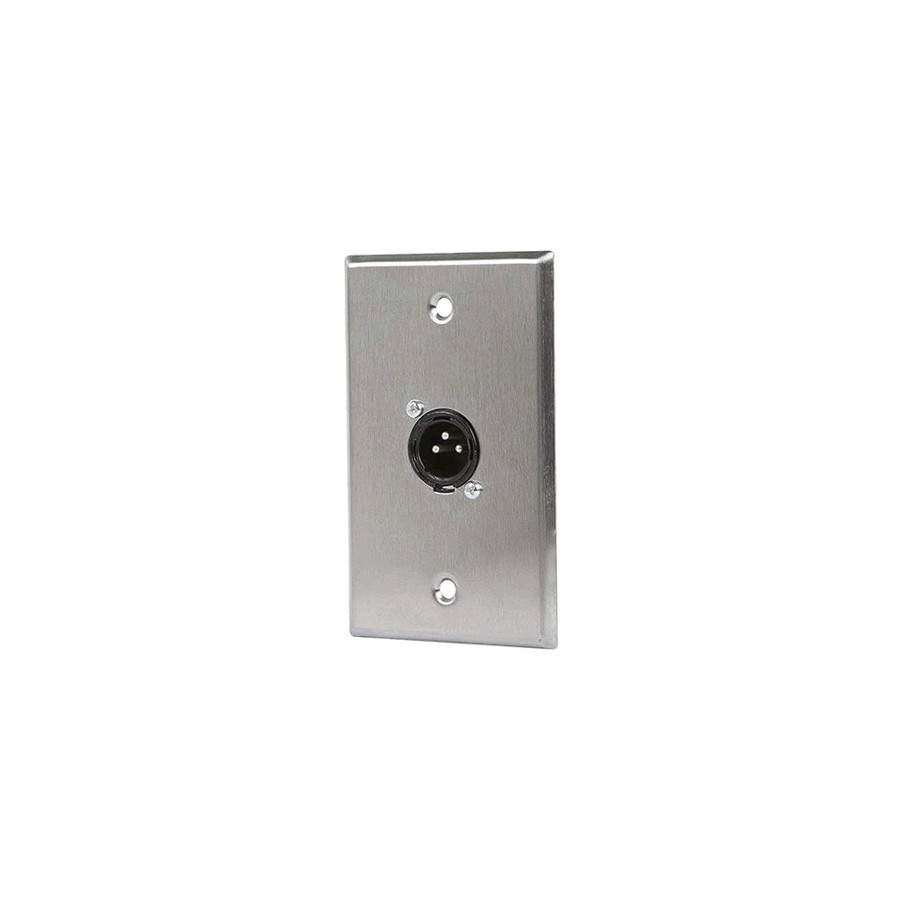 xlr male 3 pin one port zinc alloy wall plate audiophonics. Black Bedroom Furniture Sets. Home Design Ideas