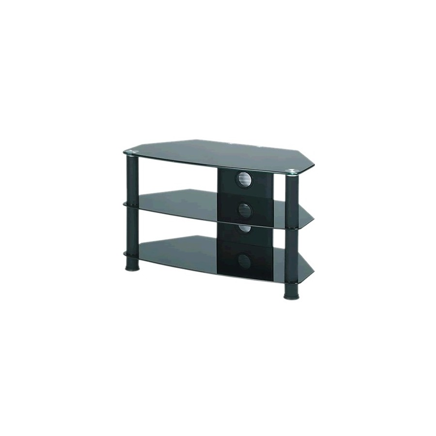 j003bb meuble hifi support tv verre et aluminium black audiophonics. Black Bedroom Furniture Sets. Home Design Ideas