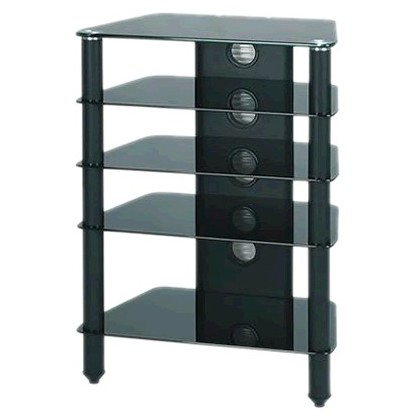 j005bb meuble hifi support tv verre et aluminium black audiophonics. Black Bedroom Furniture Sets. Home Design Ideas