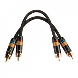 SMSL W6 Câble de Modulation RCA plaqué Or / Oyaide OFC 0.21m (La paire)