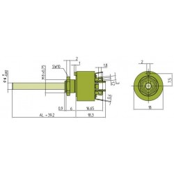 ELMA 01-1424 Selector 4 poles 2 positions