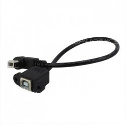 Angled 90° Panel mount USB-B male to USB-B female 30cm