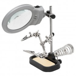 Helping hand magnifier led light with soldering stand