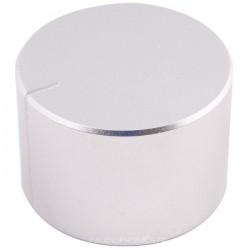 Bouton aluminium 40mm Silver pour boîtier Axe méplat Ø6mm