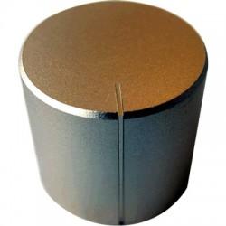 Bouton aluminium 27×25mm champagne Axe méplat Ø6mm