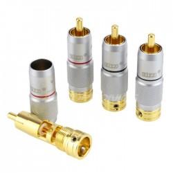 EIZZ EZ-203 Connecteurs RCA Cuivre Tellurium plaqué Or Ø 9mm (Set x4)