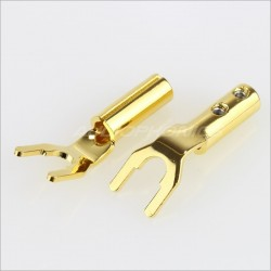 EIZZ EZ-502 Gold plated Copper Spades Ø 8mm (Pair)