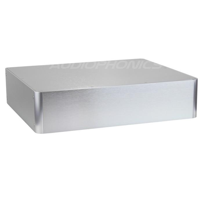 100% Aluminium DIY Box / Case angled corners 380x320x90mm Silver