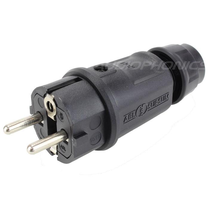 ABL SURSUM ELAMID Connecteur Secteur Schuko Noir 16A IP44 Ø12.5mm