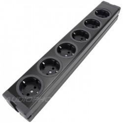 Multiprise 6 Ports Schuko Qualité Professionnelle Aluminium Noir (A câbler)