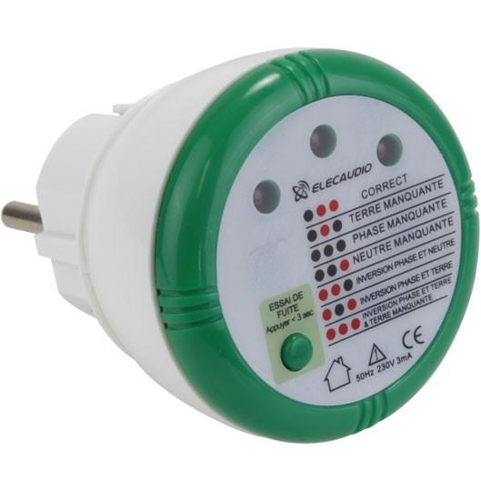 ELECAUDIO Testeur de prise / Phase secteur et de Sécurité électrique pour prise 230V