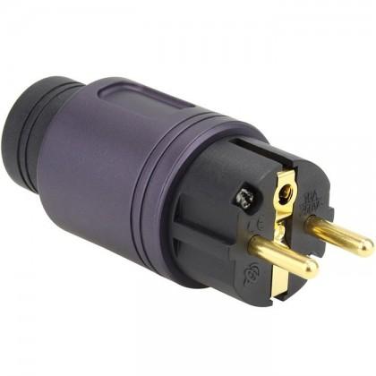 ELECAUDIO RS-34GP Schucko Power Plug Fiber Glass 24k Gold Plated Purple