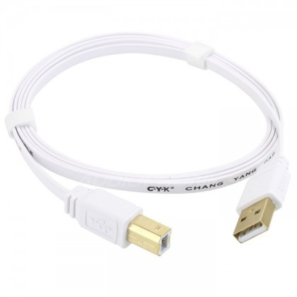 CYK Câble plat USB A - USB B 2.0 plaqué Or 24K 1.5m