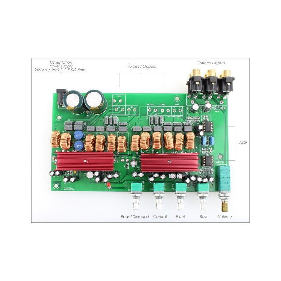 Ma Tp02 Amplifier Board Tpa3116 51 Class D 6 Voies 1x100w 2 Ohm Making Home Theater Surround 1x 100w 5x 50w