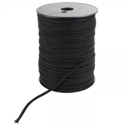 Gaine Coton naturel tricotée pour câble Dia. 2.5mm Noire