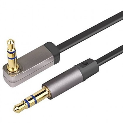 Kaiboer KBE-SM-13041 Flat Cable angled Jack to Jack 3.5mm Gold plated 24k 1m