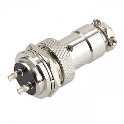 Snap-fit GX16 plug 2 pin Silver plated 300V 5A Ø 7mm