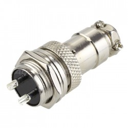 Snap-fit GX16 plug 2 pin 300V 5A Ø 7mm