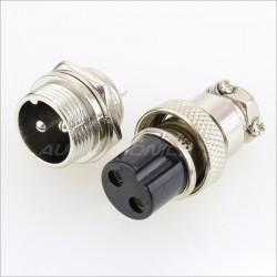 Snap-fit GX16 plug 2 pin 300V 5A Ø 7mm