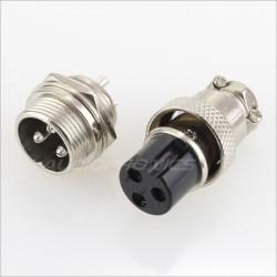 Snap-fit GX16 plug 3 pin 300V 5A Ø 7mm