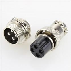 Snap-fit GX16 plug 4 pin 300V 5A Ø 7mm