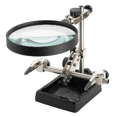 Adjustable third hand with adjustable magnifying glass