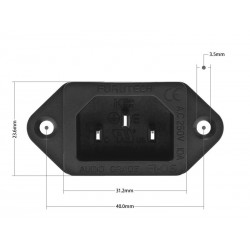 FURUTECH FI-06 R Embase IEC Cuivre pur plaqué Rhodium