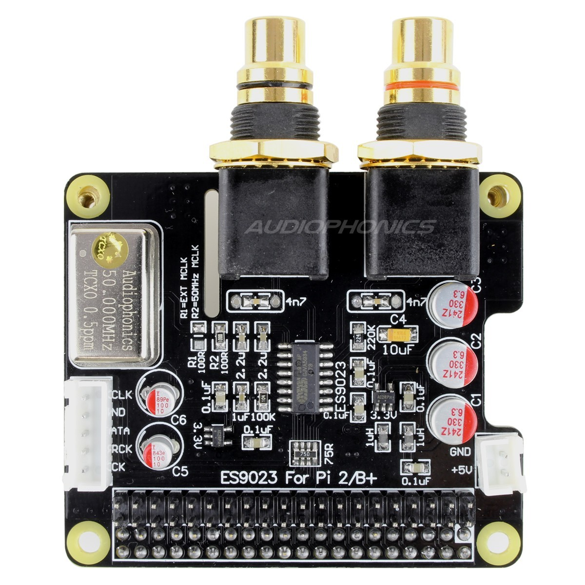 AUDIOPHONICS I-Sabre DAC ES9023 TCXO Raspberry Pi A+ B+ / Pi 3 / Pi 2 / I2S