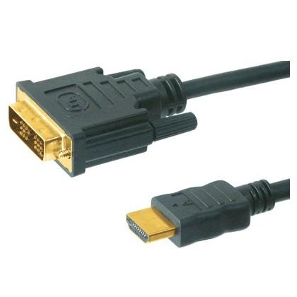 Câble avec connecteurs plaqués Or + ferrites DVI-HDMI 5m