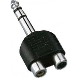 6.35 stereo male to 2 x RCA female plug adapter