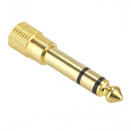 Jack 6.35mm male to Jack 3.5mm female stereo Adaptator Gold plated