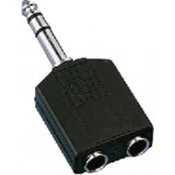 6.3mm male to 2 x 6.35 stereo phone plug adapter