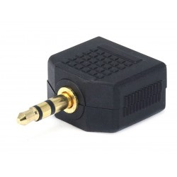 Gold plated splitter adaptor Jack 3.5mm male to 2x Jack 3.5mm female stereo
