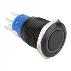 Interrupteur Aluminium Anodisé avec Cercle Lumineux Bleu 2NO2NC 250V 5A Ø 19mm Noir