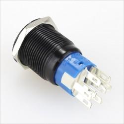 Aluminium Switch Black & Blue circle 250V 5A Ø19mm