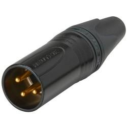 NEUTRIK NC3MXX-B Connecteur XLR Mâle 3 Pôles Plaqué Or Ø 8mm (Unité)