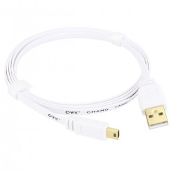 CYK Câble plat USB A - mini USB 2.0 plaqué Or 24K 1.5m