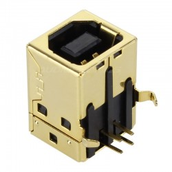 Gold plated USB Female Type B 2.0 plug for PCB