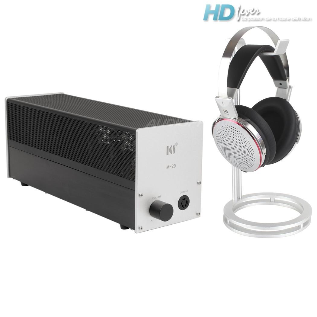 KINGSOUND M-20 Amplificateur à Tubes & KS-H4 Casque Electrostatique Pack Argent