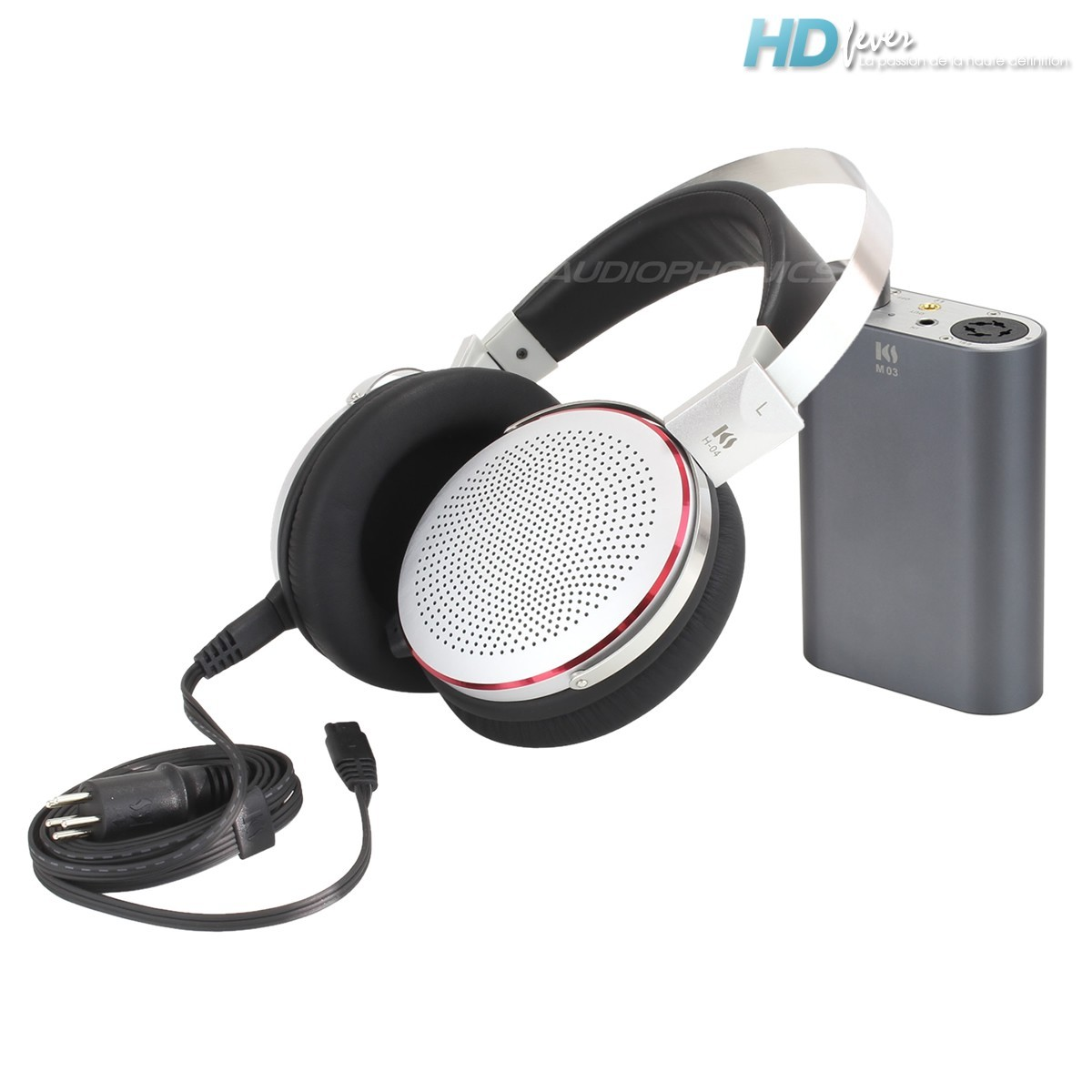 KINGSOUND M-03 Portable Amplifier & KS-H4 ESL Headphone Pack Silver/Titanium