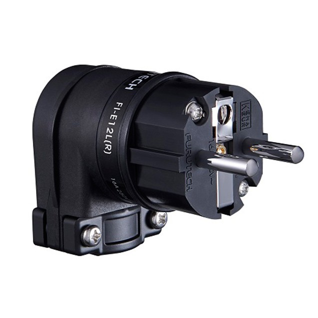 FURUTECH FI-E12L (R) Connecteur Schuko Coudé 90° Plaqué Rhodium Ø18mm