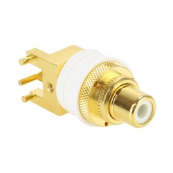 WBT-0234 Embase RCA pour PCB à souder Cuivre OFC plaqué Or Blanc (Unité)
