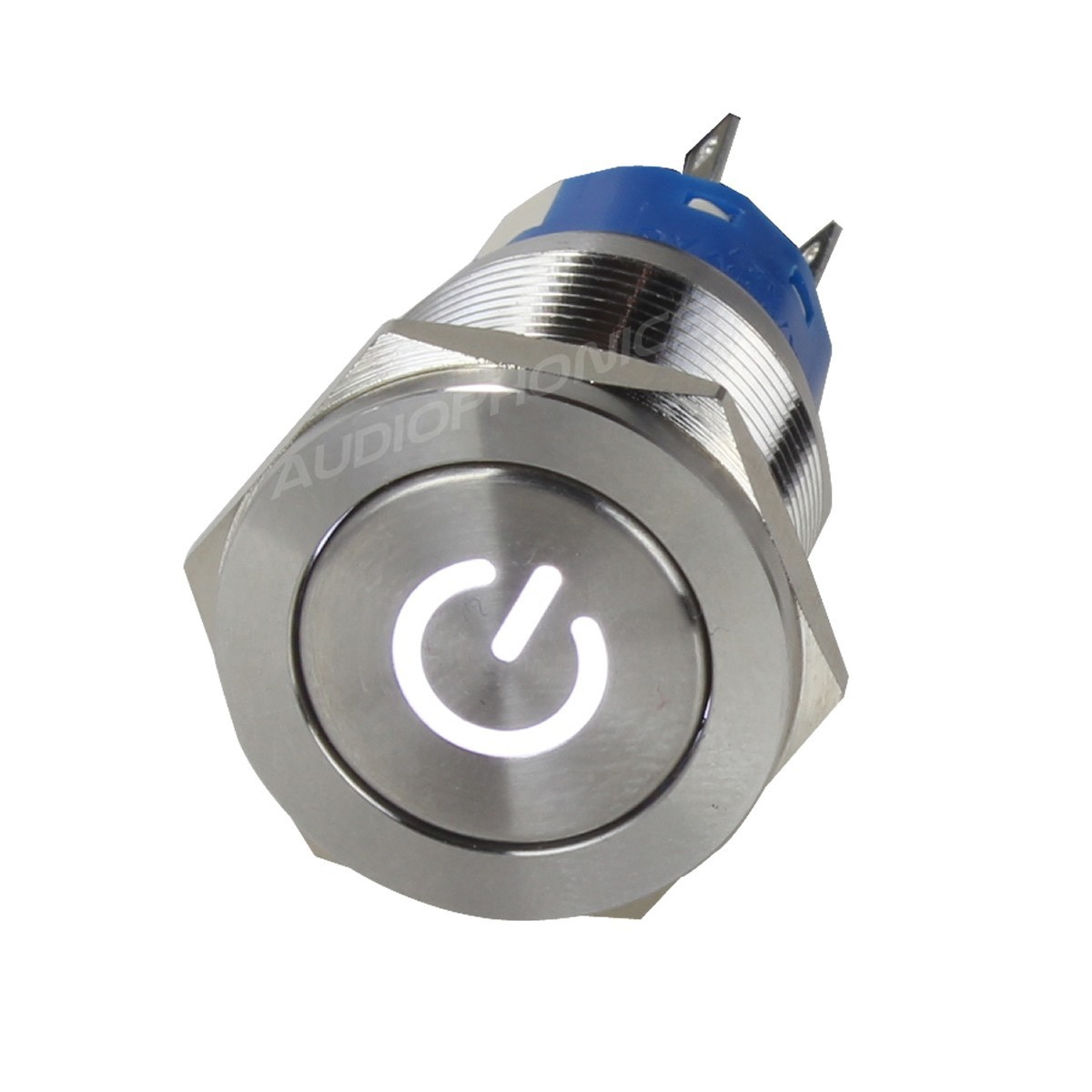 Aluminium Switch with White Power Symbol 2NO2NC 250V 5A Ø19mm Silver