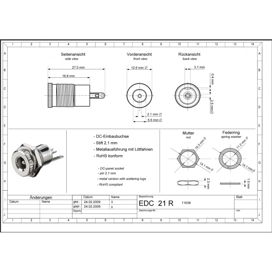Barrel Connector Panel Jack Dc 55mm 21mm Central Installation Magic Wiring Diagram