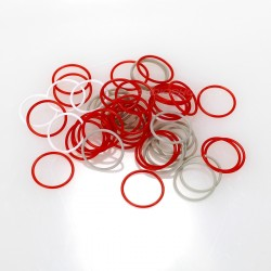 Bague Silicone épaisseur 1mm Rouge (x10) Ø8mm