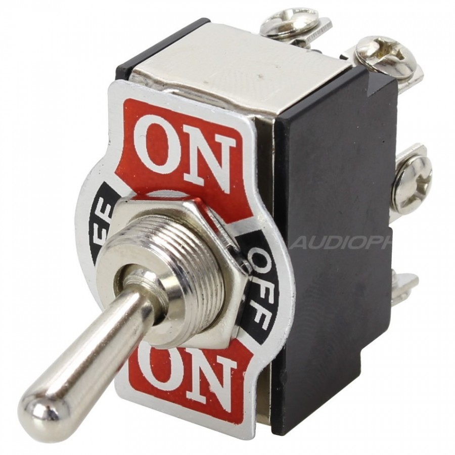 2 Poles Aviation Type Toggle Switch ON-OFF-ON 250V 10A - Audiophonics