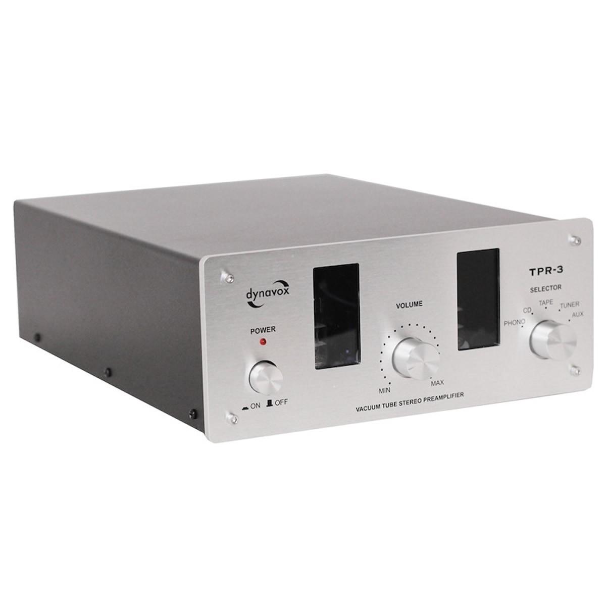 DYNAVOX TPR-3 Préamplificateur à tube avec entrée Phono (MC/MM) Silver