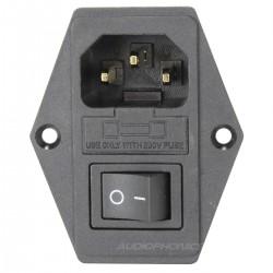 Embase IEC Cuivre plaqué Or + Interrupteur + Porte fusible 10A