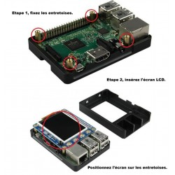 Aluminium box for Raspberry 2/3 with 2.2 Screen / programmable knobs