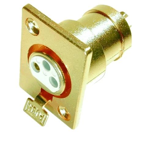 Embase XLR gold Femelle plaqué Or